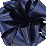 Navy Wired Double Face Satin Ribbon, 25 yards