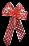 Red/Gold Diamond Patterned Wired Ribbon, 2