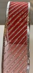 Red/Silver Striped Patterned Wired Ribbon, 2