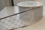 White/Silver Diamond Patterned Wired Ribbon, 2