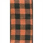 Wired Halloween Check Ribbon, Orange & Black, 2.5