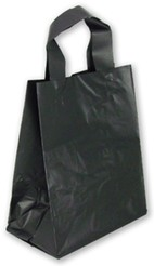 "Black Colored Frosted Shopper Bags (8"" x 5"" x 10"")"