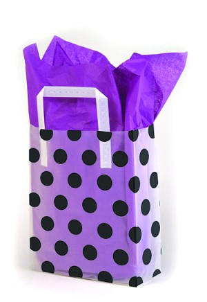"Black Dots on Clear Printed Frosted Shopper Bags (8"" x 4"" x 10"")"