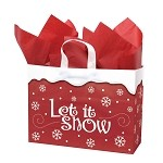 Let It Snow Printed Frosted Shopper Bags (16