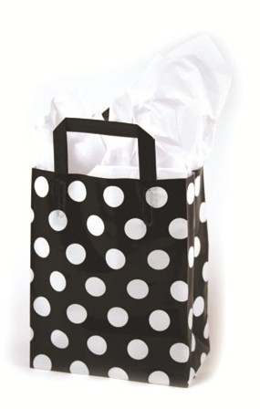 "White Dots on Black Printed Frosted Shopper Bags (5"" x 3"" x 7"")"