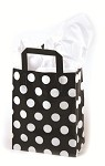 White Dots on Black Printed Frosted Shopper Bags (5
