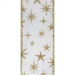 Stars Wired Ribbon (White/Gold), 1.5 inch x 25 yards