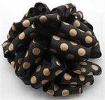 Black/Gold Spirit Wired Dot Ribbon (2-1/2