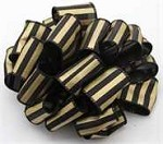 Black/Gold Spirit Wired Stripe Ribbon (1-1/2