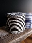 Black Striped Linen Ribbon with Fringed Edge, 5 yards