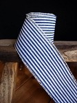 Blue Striped Linen Ribbon with Fringed Edge, 5 yards