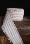 White Striped Linen Ribbon with Fringed Edge, 5 yards