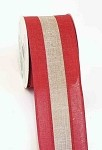 Red and Natural 2 Tone Linen Wired Ribbon, 2.5