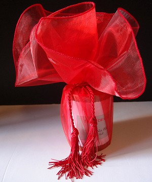 "Red with Red Edge Organza Circles, with Red Tassel  28"" diameter"