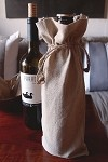 Linen Wine Bag with Jute Cord, 12 bags/pack